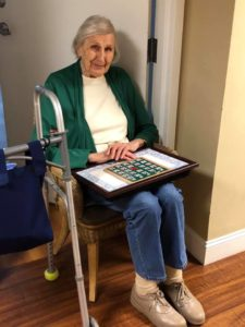 Assisted living residents at Regency Morristown make the most of social distancing by playing bingo from a safe distance!